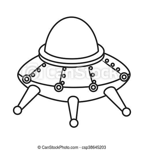 Ufo Kid Toy Icon Vector Illustration Ufo Kid Toy Black And White