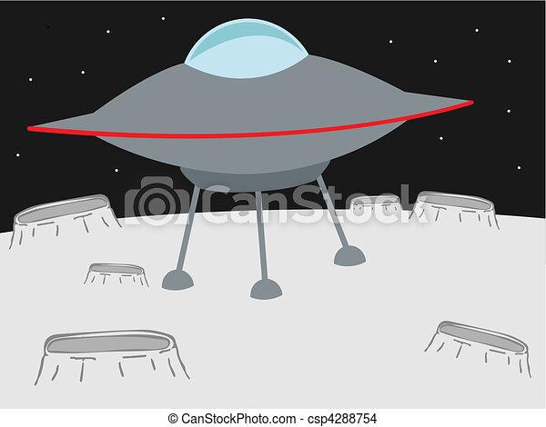 UFO shooting yellow beam - csp4288754