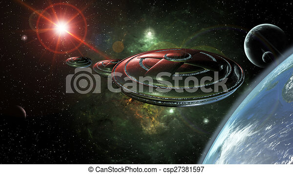 ufo space ufos in space reaching a planet 3d rendering