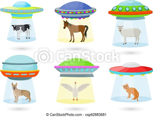 Ufo vector alien spaceship or spacecraft and spacy ship with animal character cat or pig illustration set of spaced sbeam of mystery transport in universe space isolated on white background - csp62883681