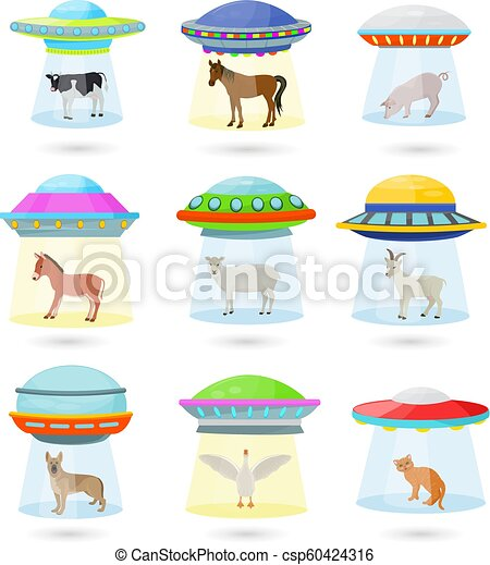 Ufo vector alien spaceship or spacecraft and spacy ship with animal character cat or pig illustration set of spaced sbeam of mystery transport in universe space isolated on white background - csp60424316