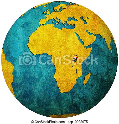 uganda flag on globe map - csp10233975