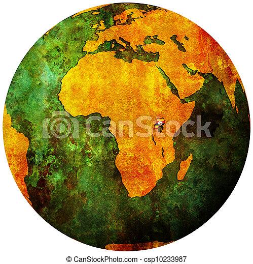 uganda flag on globe map - csp10233987