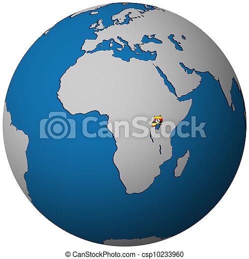 uganda flag on globe map - csp10233960