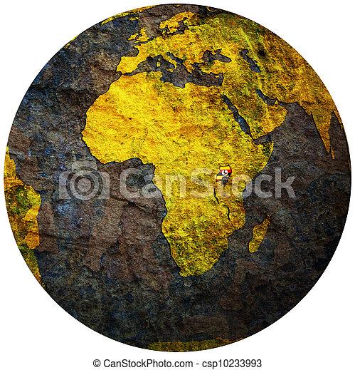 uganda flag on globe map - csp10233993