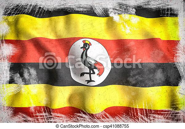 Uganda flag waving - csp41088755