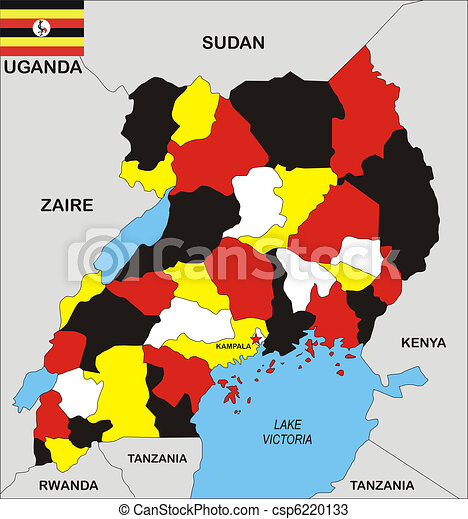 Uganda map Political map of uganda country with flag drawings