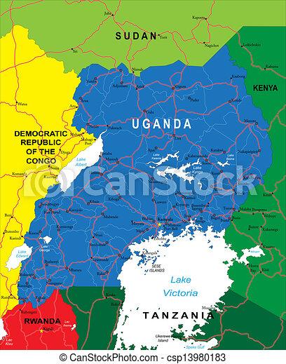 Uganda Map - csp13980183