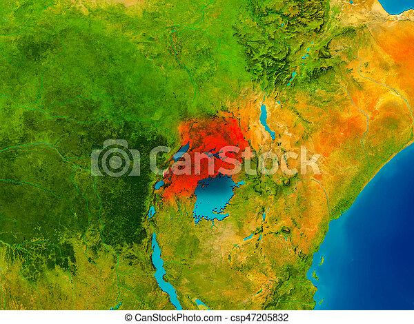 Uganda on physical map - csp47205832
