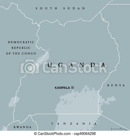 Uganda political map with capital kampala republic in east eps