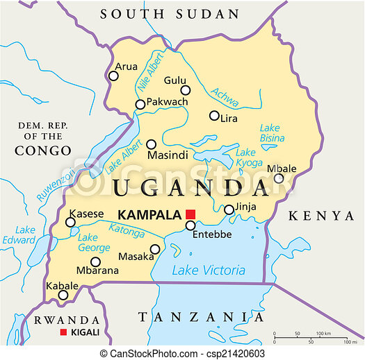 Uganda political map Political map of uganda with capital vector