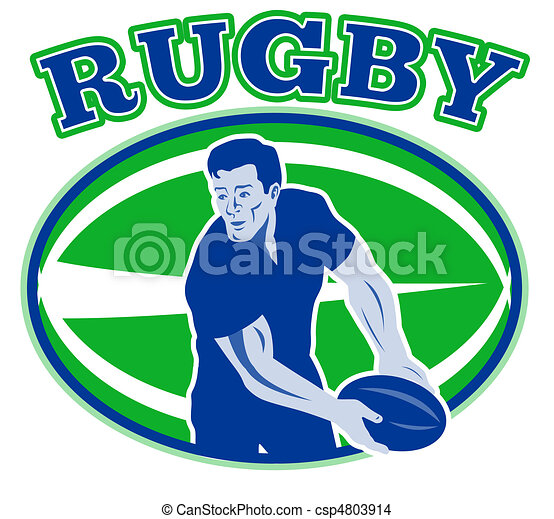 ugby player passing ball front - csp4803914