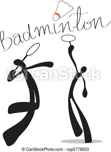 uggia, badminton, cartone animato, uomo - csp5776833