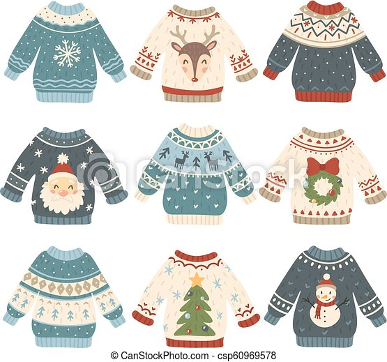 aefaaad8f8 Ugly Christmas Sweaters. Cartoon Cute Wool Jumper. Knitted Winter Holidays  Sweater With Funny