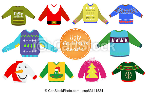 Ugly Christmas Sweater Clipart.Ugly Christmas Sweaters Vector Set