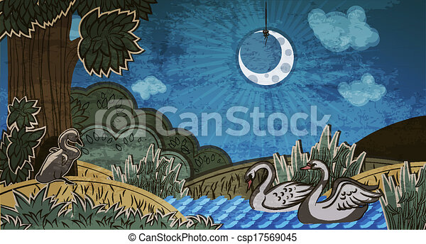 Ugly duckling looking at pair of swans. Illustration to fairy tale Ugly Duckling (Hans Christian Andersen).  - csp17569045