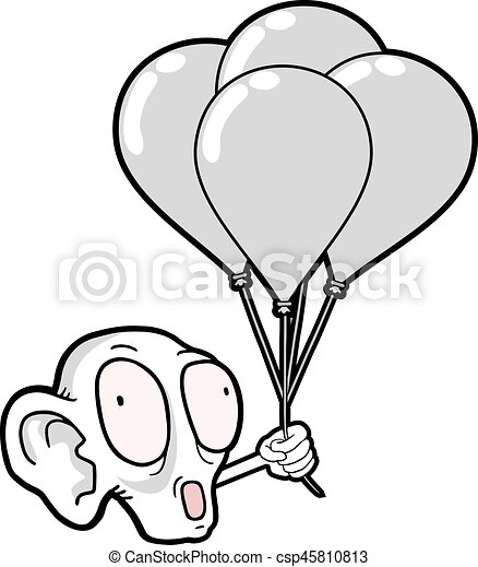 ugly face with balloons - csp45810813
