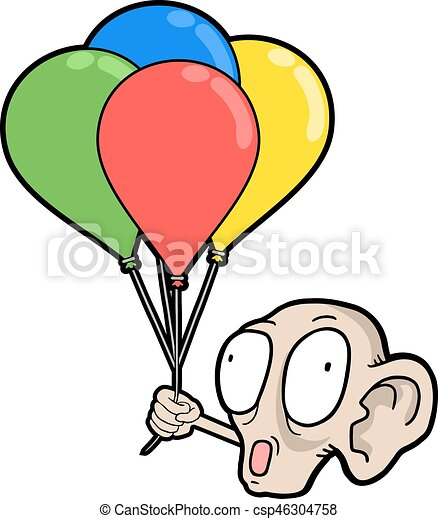 ugly face with color balloons - csp46304758