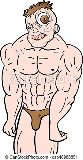 creative design of ugly muscle man clipart vector search rh canstockphoto com Muscle Man Holding Books Clip Art muscle man clipart free