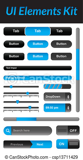 UI Elements kit 1 (Blue) - csp13711429