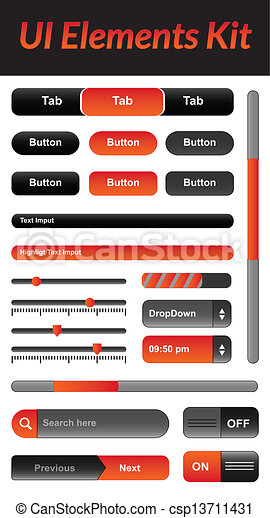 UI Elements kit 1 (Orange) - csp13711431