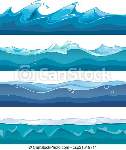 Ui Set Onde Sfondi Seamless Acqua Gioco Vettore Disegno