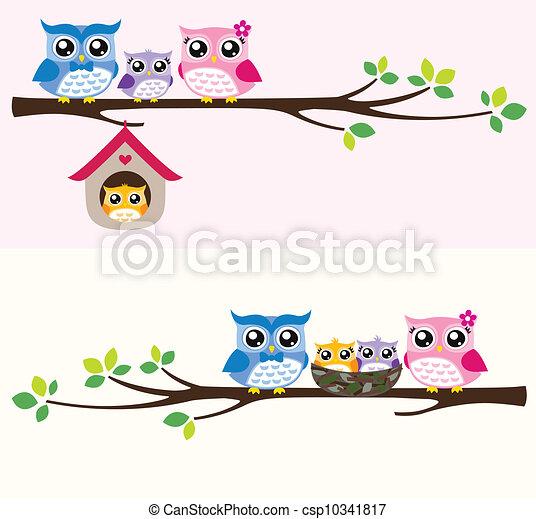 uil, gezin, illustratie - csp10341817