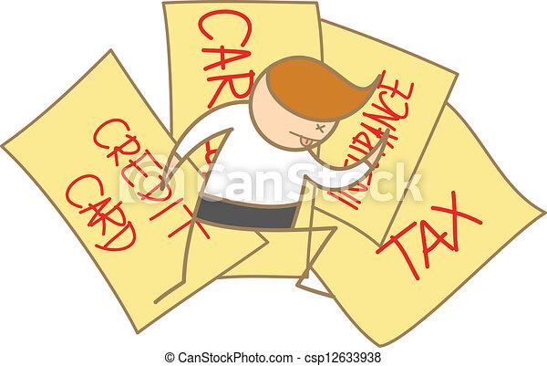 uitgeput, karakter, dons, leggen, rekeningen, spotprent, man - csp12633938
