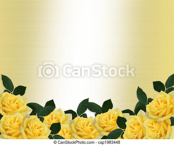 uitnodiging, rozen, trouwfeest, grens, gele - csp1983448