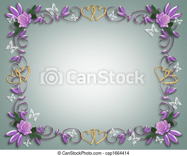 uitnodiging, trouwfeest, grens, lavendel, rozen - csp1664414