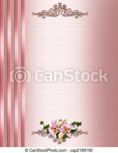 uitnodiging, trouwfeest, grens, rooskleurig satijn - csp2189190