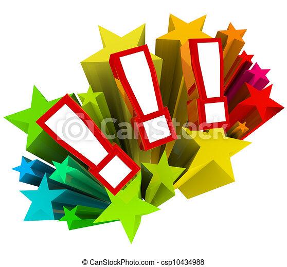 uitroep, opwinding, starburst, verrassing, punten - csp10434988