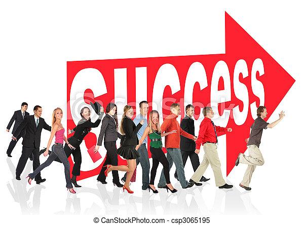 uitvoeren, succes, zakelijk, themed, collage, mensen, meldingsbord, richtingwijzer, volgend - csp3065195