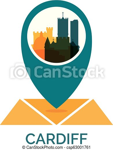UK Cardiff map pin vector logo llustration on new york cities maps, europe cities maps, florida cities maps, texas cities maps, usa cities maps,