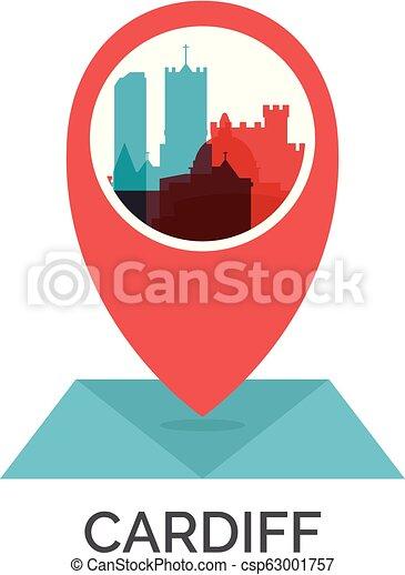 Uk cardiff map pin vector logo llustration. Uk great britain wales on