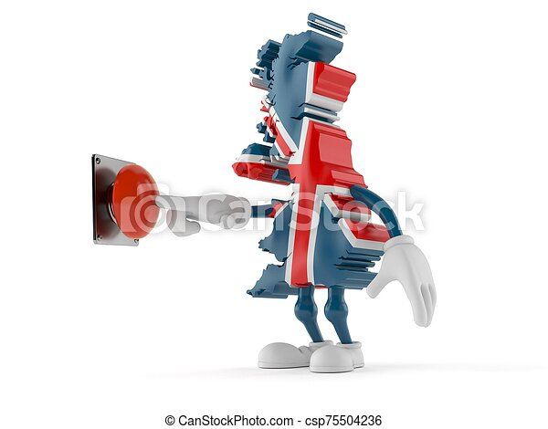 UK character pushing button on white background - csp75504236