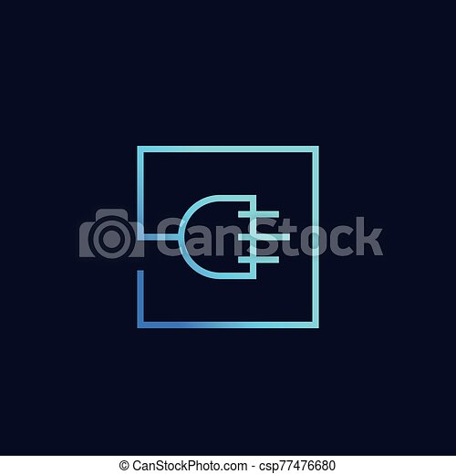 uk electric plug icon, linear vector logo - csp77476680