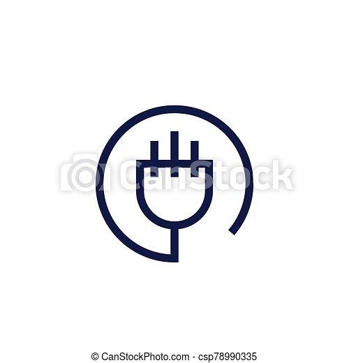 uk electric plug icon, linear vector design - csp78990335