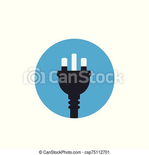 uk electric plug, vector icon, flat style - csp75112701