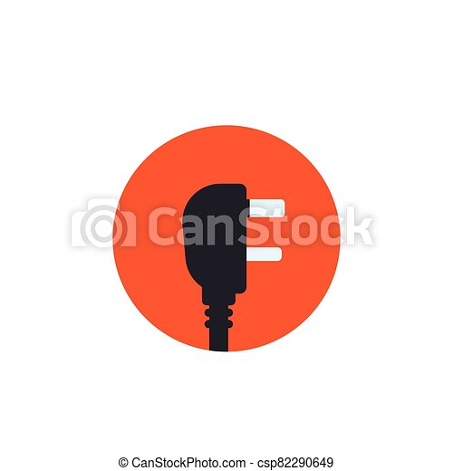 uk electric plug, vector icon in flat style - csp82290649