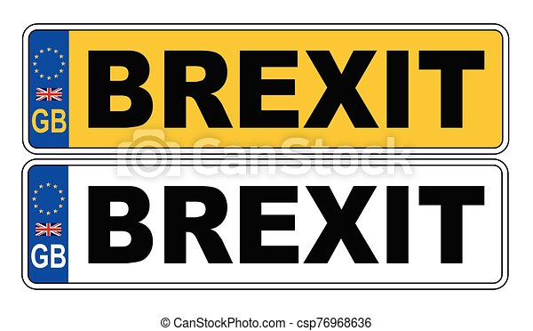 UK Front And Back Number Plate With Text Brexit - csp76968636