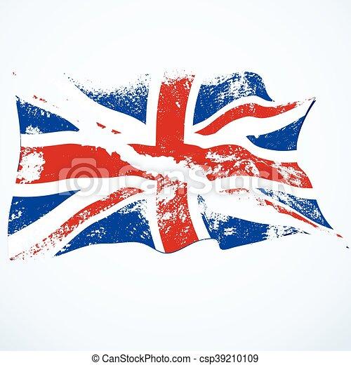 UK grunge flying flag. - csp39210109