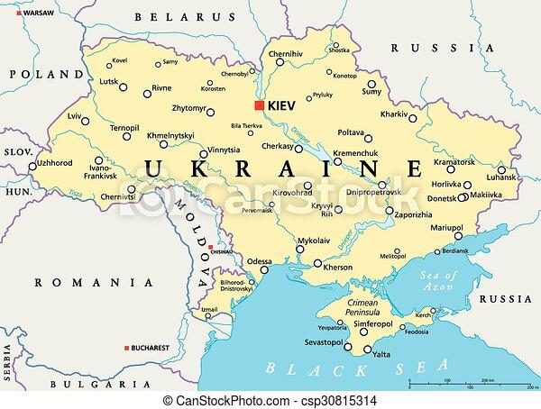 Ukraina Mapa Polityczny Ukraina Mapa Scaling Illustration