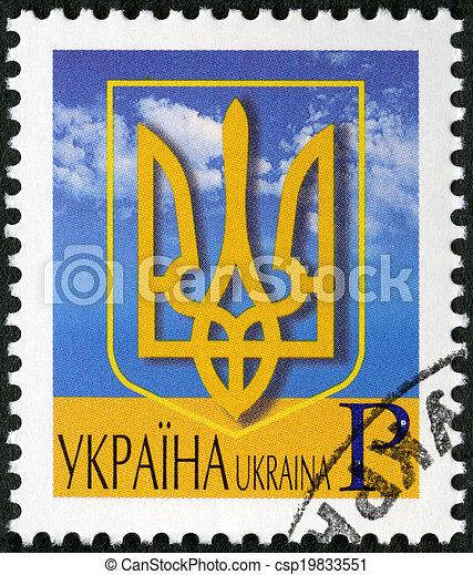 UKRAINE - 2006: shows coat of arms of Ukraine - csp19833551