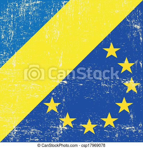 Ukraine and european grunge flag - csp17969078