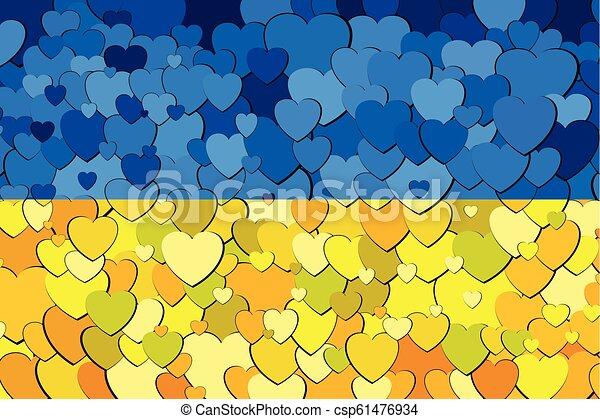 ukraine, cœurs, drapeau, fait, fond - csp61476934