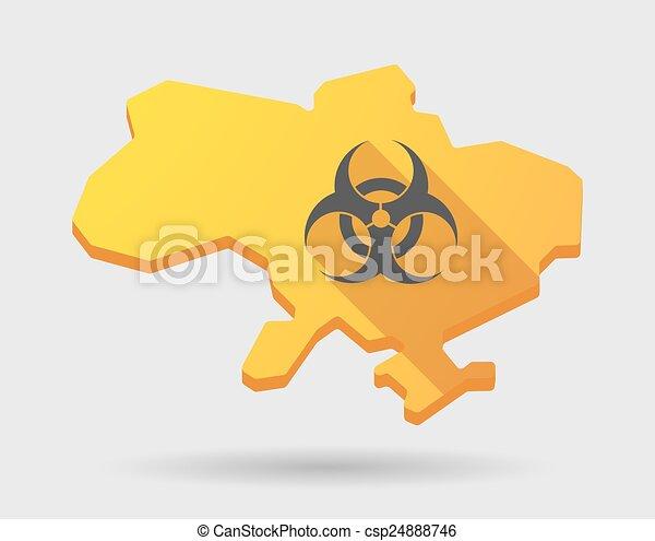 Ukraine green map icon with a biohazard sign - csp24888746