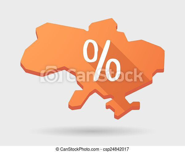 Ukraine green map icon with a discount sign - csp24842017
