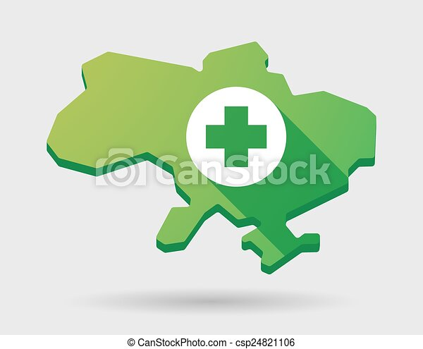 Ukraine green map icon with a pharmacy sign - csp24821106