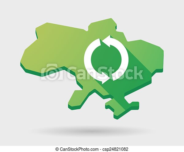 Ukraine green map icon with a recycle sign - csp24821082
